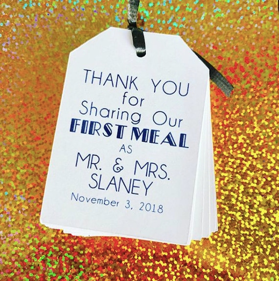 Custom Wedding tags, first meal together, silverware tags, tags for dinner, escort cards,Thank you for sharing out first meal as mr and mrs