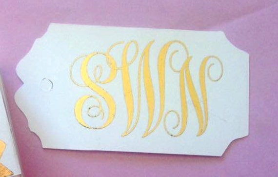 GOLD FOILED Custom Monogram Tags, Thank You, Custom Ink Color,Monogram Tags, Customized Monogrammed Wedding Tags, Wedding Favor Tags