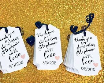 Thank you for showering our bride with love just tags, bridal shower tags, bridal shower ideas, bridal shower, showers, custom paper tags