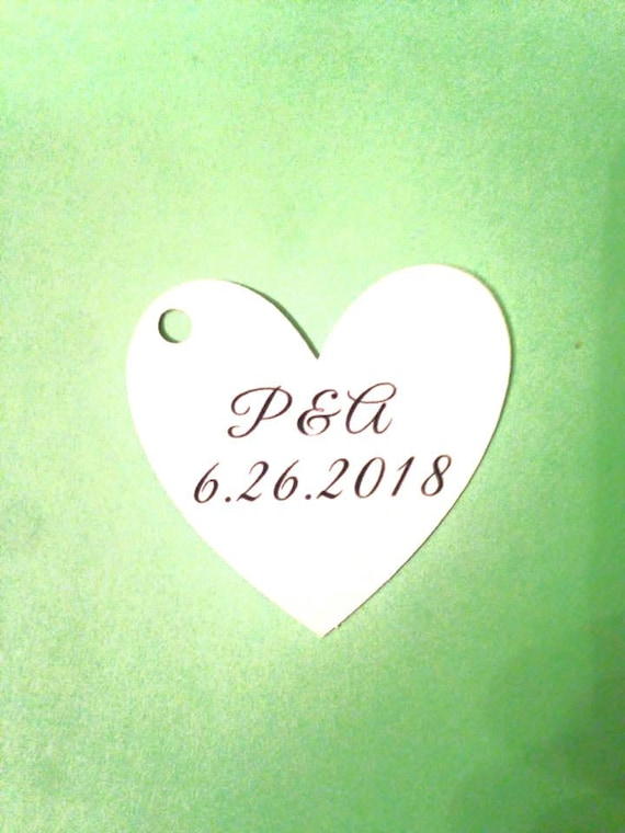 "Wedding Heart Tag with initials and date of event,Thank You Tags - 1.5"" Heart - Personalized Tag - Kraft Tags - Custom Wedding Tags"