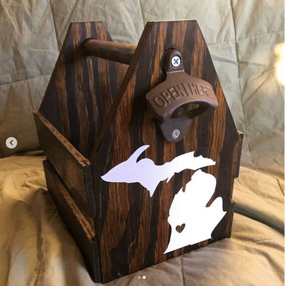 Six Pack Custom Glass Bottle Rustic Wood Beer Tote, Beer Carrier,  Beer Caddy Man Cave Brewery Personalized Bottle Opener