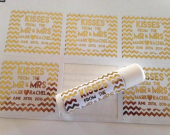 Kisses From The Mr and MRS, Gold foiled lip balm labels various designs, wedding favors, baby showers, bridal showers, custom