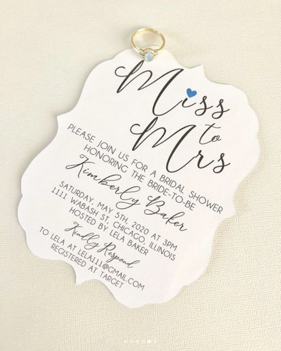 Miss To Mrs Bridal Shower Invitations Fits An A7 Envelope Etsy