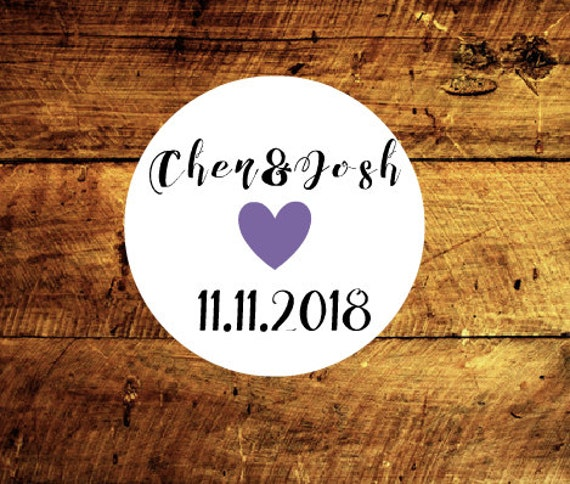 Custom wedding stickers with name and date, choice of heart color and website address, thank you tags, wedding tags, etsy shop