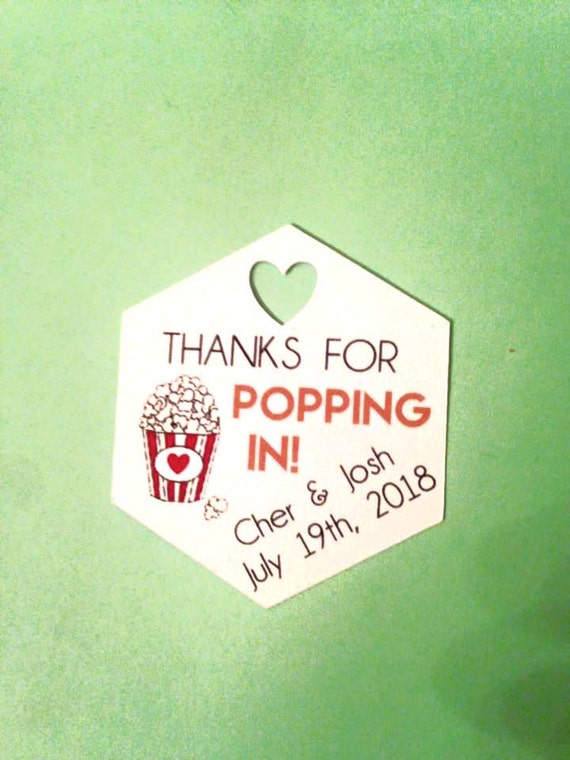 Thanks for Popping In with custom name and date, popcorn, popcorn wedding, baby shower, popcorn party favors, wedding favors, custom ink