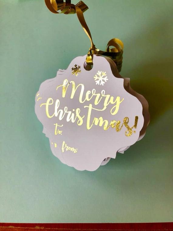 Merry Christmas Gold Foiled Gift tags, Christmas tags, xmas gifts, gift wrap, custom tags, custom Christmas tags, gift tags holiday gifts