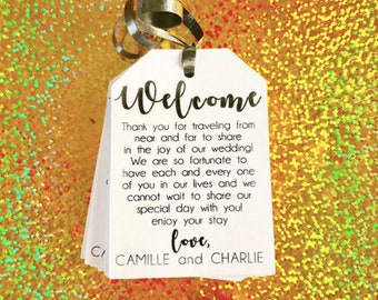 Welcome with custom message, welcome tags, welcome tags, out of state weddings, destination weddings, custom letters, custom welcome tags