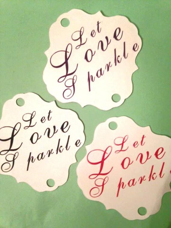 Let Love Sparkle Sparkler Tag, set of 25, custom colors, sparkler sendoff, Sparkler Sleeves, Let Love Sparkle, Wedding Favors