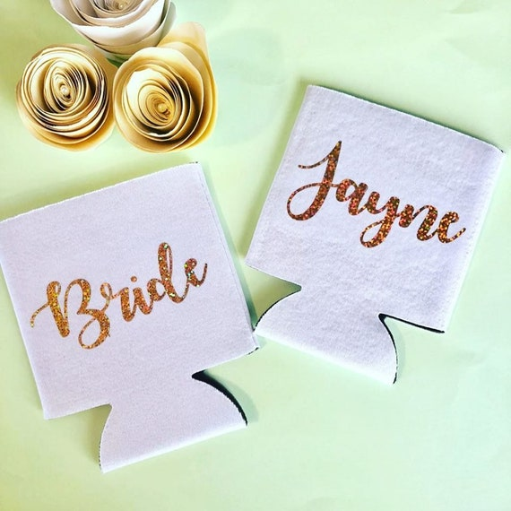 White Custom Name two sided can cooler, white and gold lettering, white can coolers, bridal gifts, gifts for the bride, bride gifts