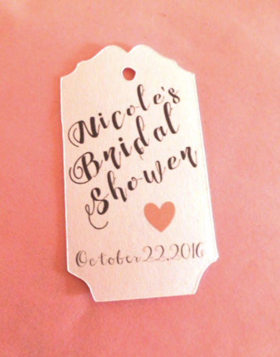 Simple Bridal Shower tag with custom name, customized tags, custom color heart, wedding colors, Personalized Tags, wedding favors