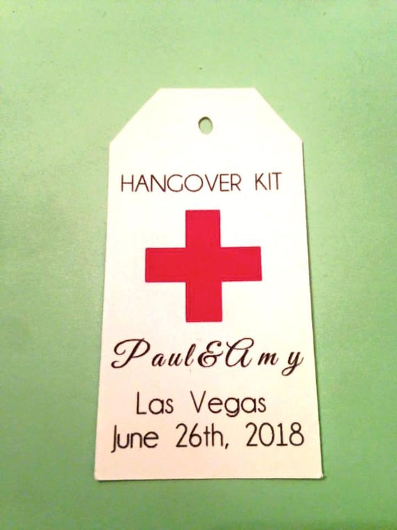 Hangover Kit Tag, DIY Hangover Kit, DIY Hangover Bags, Personalized Name Tag, Wedding Favor Bags, Bachorlette Favors, Bachelor Favors