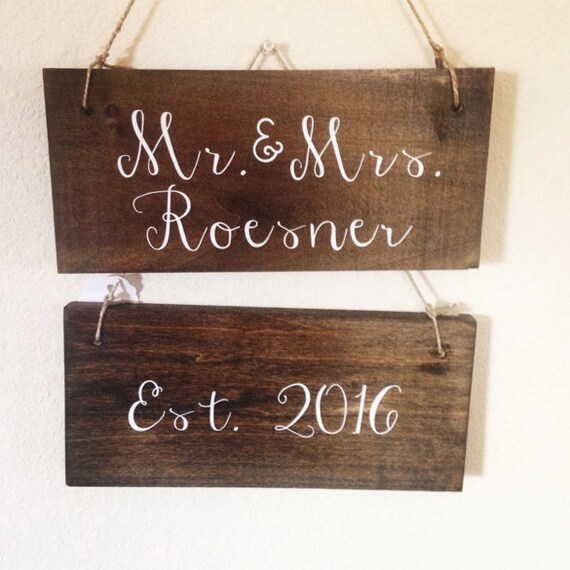 Set of Two Signs, New married couple sign, est. sign, wedding, anniversary, bride groom signs, chalkboard wedding, rustic, country wedding
