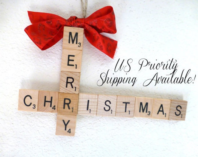 CUSTOM, Crossword Style Scrabble Christmas Ornament, choose two words, combine two words to create one tile ornament, scrabble tile ornament