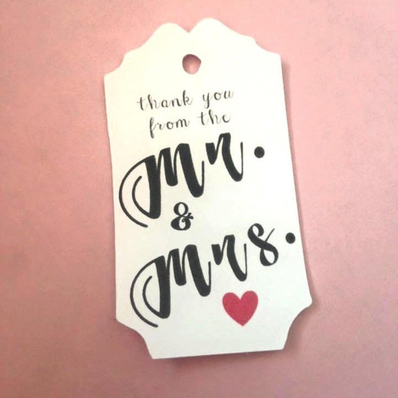 Thank you from the Mr and the Mrs, Custom heart color, Personalized Tags, wedding favors