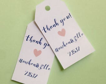 Thank you! Wedding Favors with custom name, heart , custom tags, gift tags, favor tags, thank you tags, party favors, bridal shower, baby