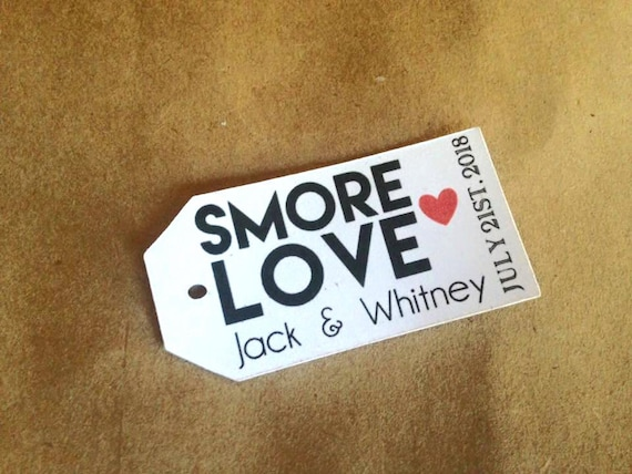 S'More Love Wedding Tag, Set of 10, Small 2 inches x 1 inch, Wedding Birthday Bridal Shower Engagement Shower Party Smores Smore Love