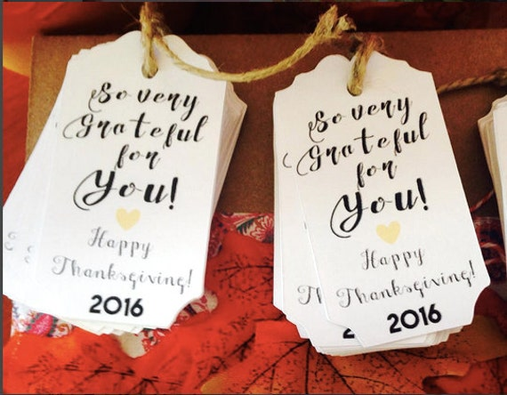 "Set of 25 Thanksgiving So grateful for you tags, 3""x1.5"", thanksgiving, thanksgiving day, tags, heart, heart color choice, party favors"