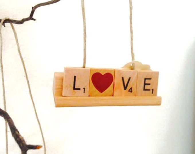 LOVE Scrabble Rack Ornament, Custom Ornaments Available with Rack, Ships next day, scrabble, scrabble Christmas, game night, game fans