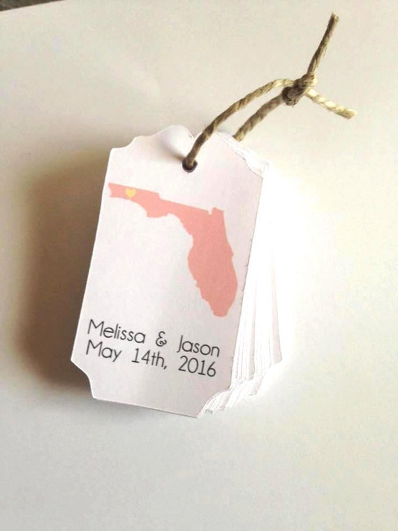 State Tags, Custom, Welcome Tags, State Gift Tags,Hang Tags, Wedding Favor Tags, custom tags, destin florida, florida wedding, beach