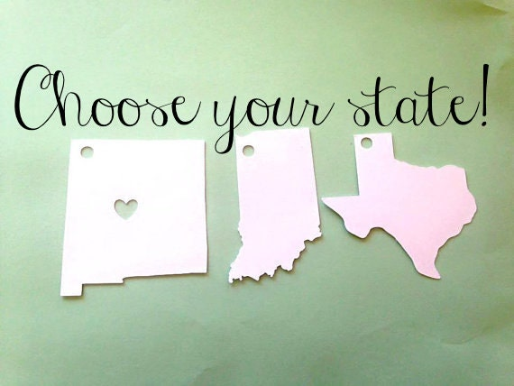 State Tag Cut outs with option of heart city of your choice, sets of 10, .25 a tag, each about 2x2 inches