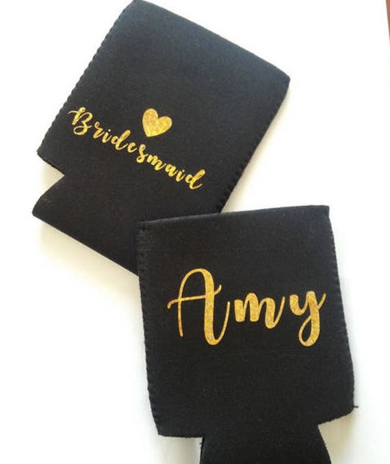 Custom Bridesmaid can coolers, gold on black, can coolers, wedding favors,Monogrammed Can Cooler, Beer Can Coolers, beer favors