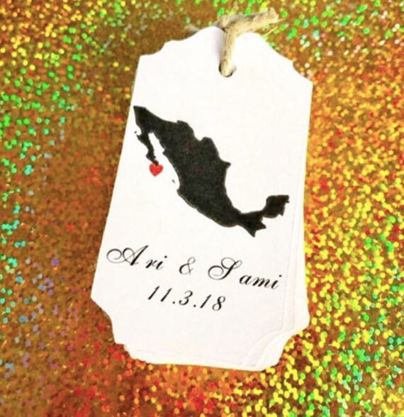 Mexico cut out, custom image, custom wedding tags, wedding states, home state tags, Mexican wedding, Mexico wedding, beach wedding