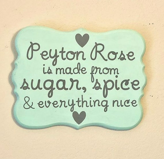 100% Painted Custom Wood Sign, Sugar and spice and everything nice,baby shower gift, little girl, baby girl gifts, gifts for baby girl, pink