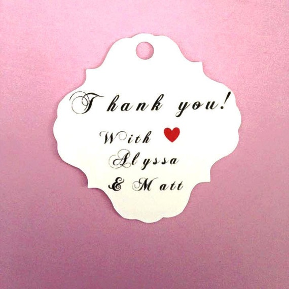 Thank you, Simple, Elegant Wedding Party Favors with custom name, heart , custom tags, gift tags, favor tags, thank you tags, party favors,