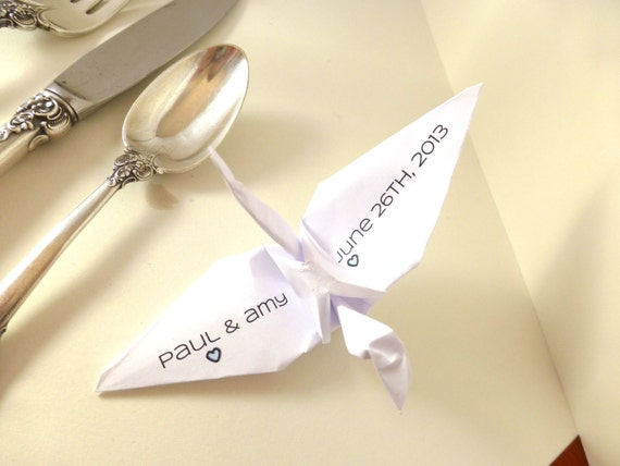 "Custom Paper Crane Message, Custom wedding decoration, party decoration, personalized paper crane, custom color paper crane, 6"" paper crane"