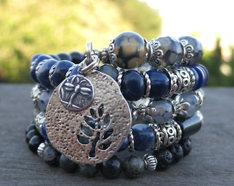 Tree and Dragonfly Memory Wire Bracelet