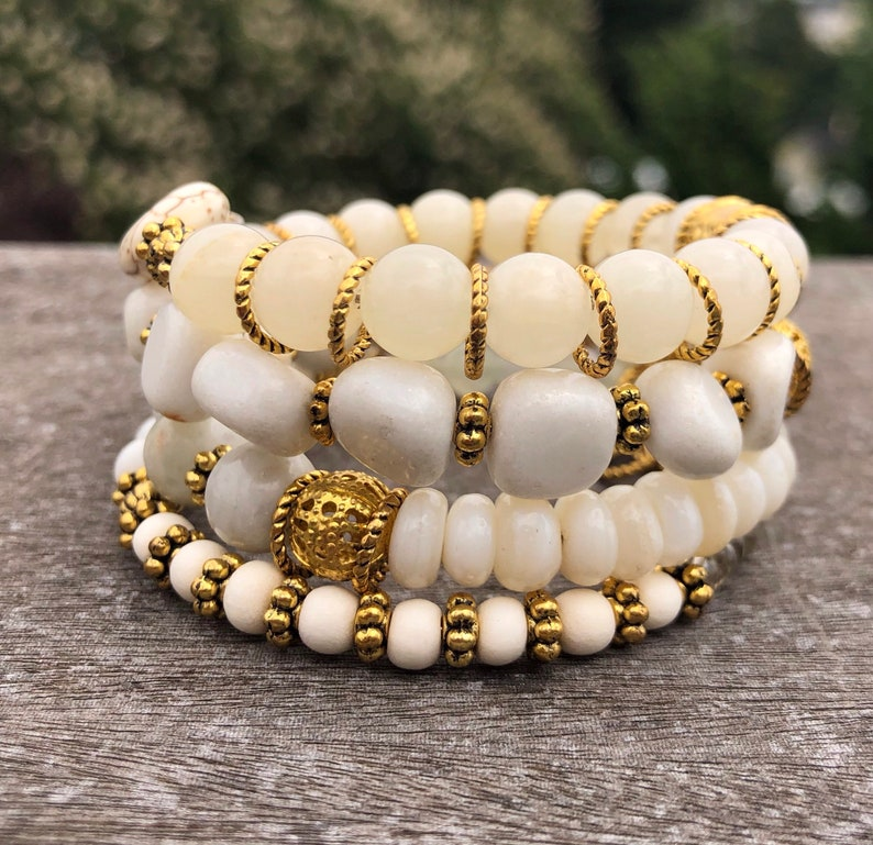ee0c0936cb32f White and gold Dreams Memory Wire Bracelet - made with Gemstones and Gold  Plated beads, spacers and charms