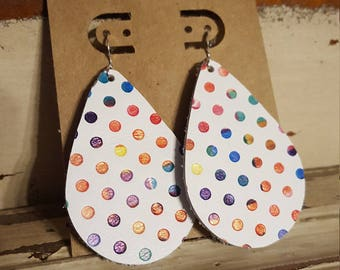 Leather Earrings, Leather Jewelry, White, Polka Dots, Rainbow, Statement Earrings, 100% Leather, Tear Drop, Lightweight