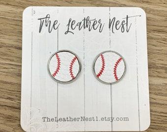 Leather Earrings, Leather Studs, Baseball, High School Baseball, MLB, Studs, Nickel Free, Stainless Steel