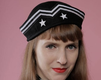 Black sailor hat   white stars and stripes   nautical   pin up   costume   cosplay   burlesque   cap