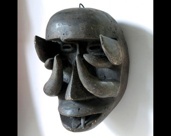 "African Tribal Art Mask Dan Bugle We Krahn Teeth Ears Tusks Horns Liberia 11.5"""