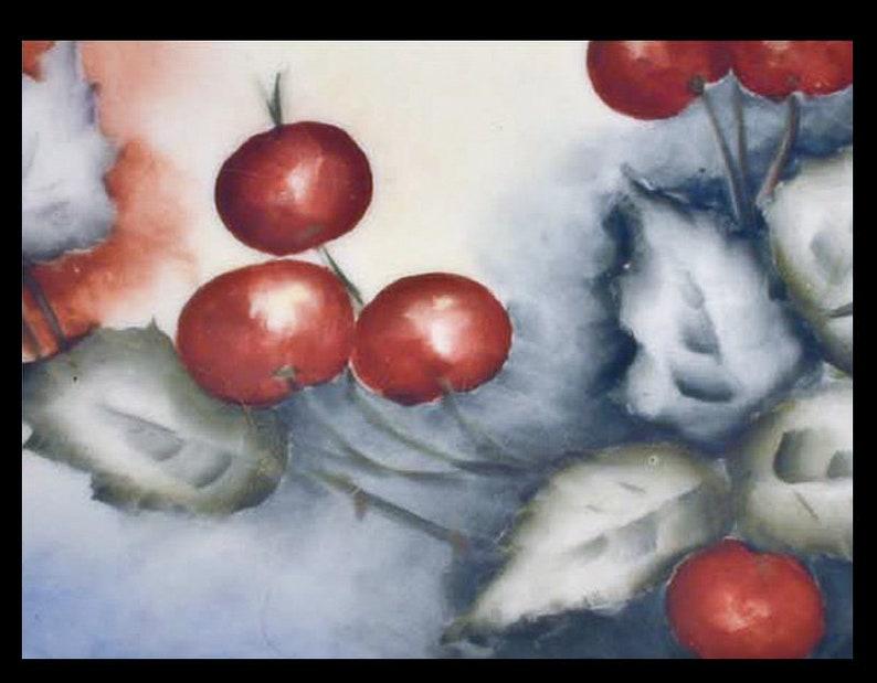 Vintage Jean Pouyat Limoges JPL France Hand Painted Cherry Plate Porcelain 8.5 No.321