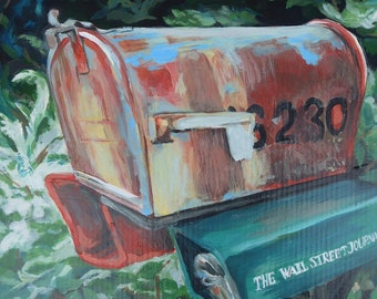 Original acrylic painting on cradled panel, country road, mailbox, landscape, foliage, rustic, white flag, red, greens, wall art, interior