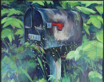 Original acrylic painting on stretched canvas, small art, country road, mailbox, neighbors, landscape, weeds, rustic, rural, foliage, USPS