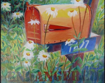 Original acrylic painting on cradled panel, country road, rural, mailbox, landscape, foliage, daisies, orange, end ANGER, wall art, interior