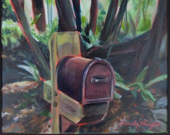 Original acrylic painting on stretched canvas, small art, country road, mailboxes, landscape, tree trunks, trees, rustic, rural, browns, art