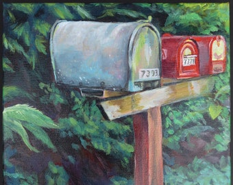 Original acrylic painting on stretched canvas, small art, country road, mailboxes, landscape, rural, roadside, foliage, rustic, colorful art