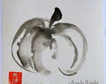 original sumi painting radish unframed art red vegetable etsy