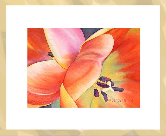 Original Framed Watercolor painting, art, tulip, red, yellow, spring, flowers, floral, garden, gardener, gift, wall art, home decor, 2D art