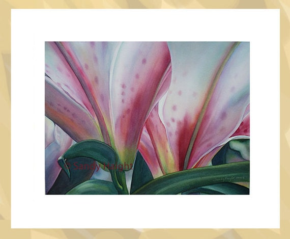 Original Framed Watercolor, stargazer lily, close up, art, flower, floral, blooms, garden, pink, green, painting, home decor, framed, gift