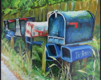 Original acrylic painting on cradled panel, country road, mailboxes, landscape, foliage, rustic, neighbors, blue, greens, wall art, interior