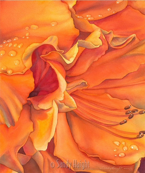 Framed Giclee of watercolor painting- archival print, azalea, orange, flower, floral, sensual, decor, gift, petals, bloom, blossom, art