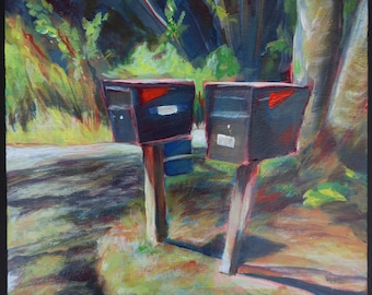 Original acrylic painting on cradled panel, small art, country road, mailboxes, neighbors, landscape, foliage, expressive wall art, interior