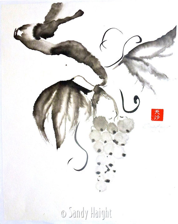 Original Sumi Brush Painting, Grapes, art, black & white, Japanese, ink drawing, botanical, wine, vineyard, jam, juice, kitchen, unframed,2D