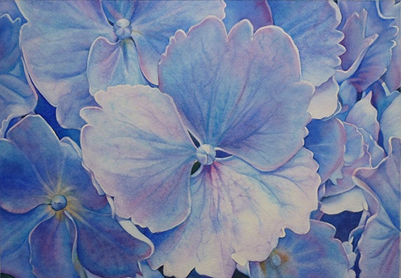 Original Watercolor Painting, framed art, Hydrangea, flower, floral, summer, bush, blue, purple, wall art, decor, office, blossom, archival