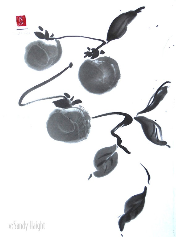 Original Sumi Painting - Persimmons, Fruit, Tree, Branch, Garden, Orchard, Japanese, Brush, ink, Black & White, Wall Art, Home Decor, Gift